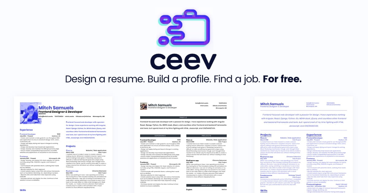 Ceev Design a resume, build a profile, find a job